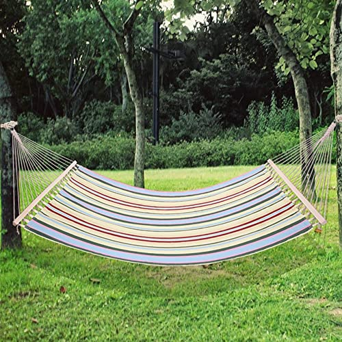 MTFY Double Hammock, Quilted Fabric 2 Person Double Hammock Bed Swing with Pillow, Wood Spreader Bar, Portable Swing Hammock for Backyard, Porch, Beach Outdoor Indoor Use, Beige