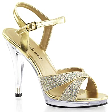 be7bc82ebf56 Summitfashions Womens Sparkling Gold Glitter Sandals 4.5 Inch High Heel  Strappy Dress Shoes Size  5