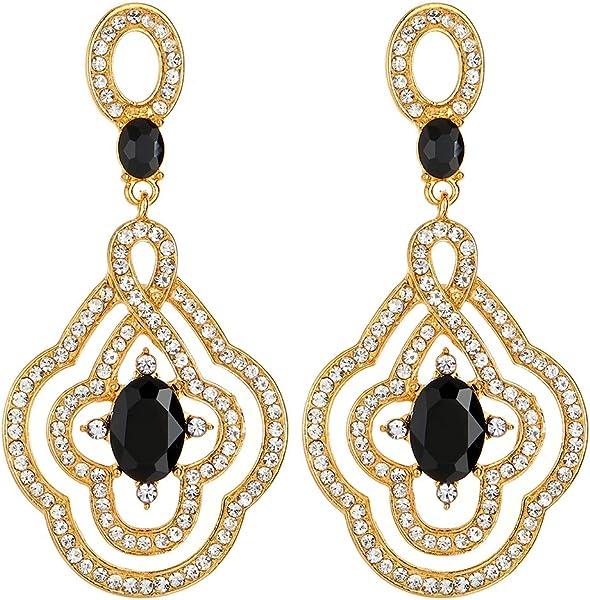 9706954ce Amazon.com: Art Deco Prom Party Dress Rhinestone Black Crystal Flower  Dangle Drop Large Gold Statement Earrings: Jewelry