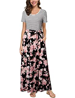 2b64b4b3d4 HNNATTA Maxi Dresses for Women,Womens Summer Floral Maxi Dress with Pockets