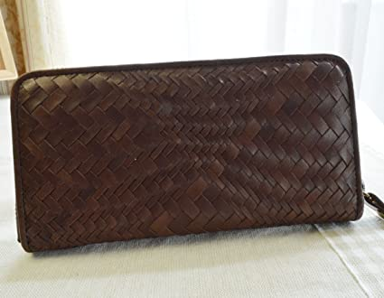 3b23295465ed Amazon.com : Men's Breast Wallet . Genuine Pony leather Mesh . CHOCO ...