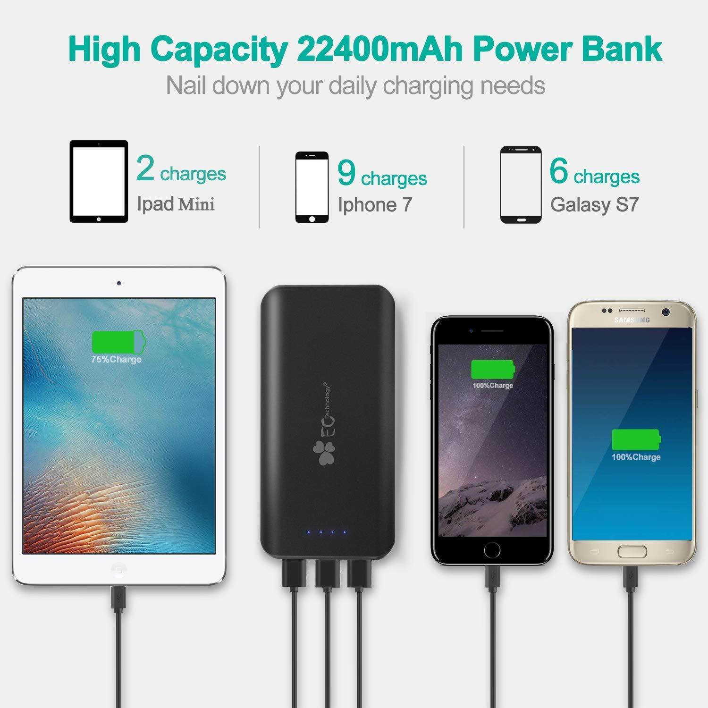 EC Technology Powerbank, Batería Externa 22400mAh, Alta Capacidad con 3 USB Salidas Entrada Puertos Cargador Portátil, Negro y Rojo