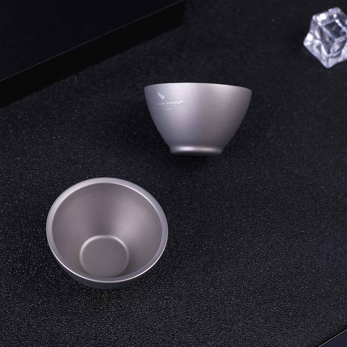 iBasingo Titanium Wine Tea Sake Cup Mug Outdoor Camping Hiking Picnic Whiskey Flask Flagon Drink(3 pieces) by iBasingo (Image #7)