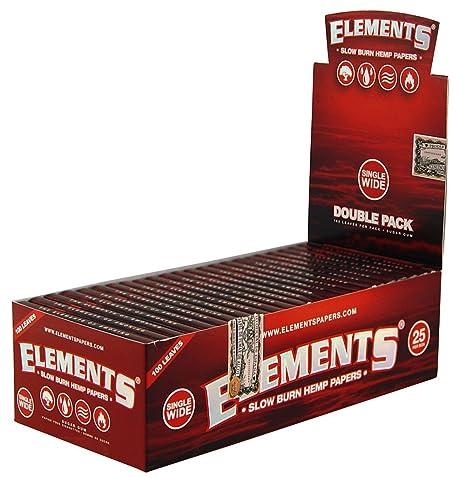 1 box - Elements RED Single Wide Double Window Slow Burn Hemp rolling paper