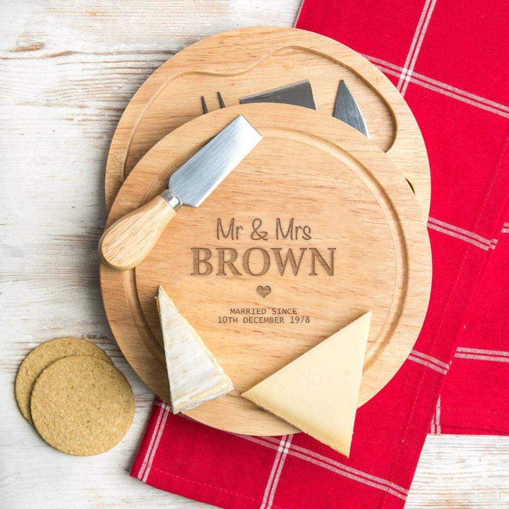 Personalized Anniversary Cheese Board and Knife Set - Christmas Gifts For Couples - Friends Wedding Xmas Present 71bJkkWzVsL