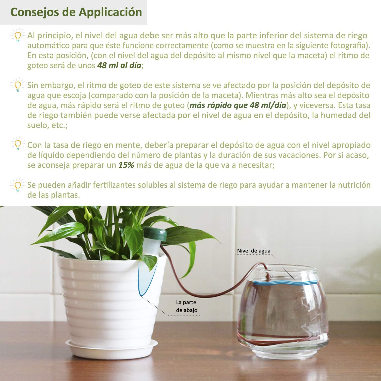 Sistema de Riego Automático (Pack de 10), Sondas de Auto Irrigación para Bonsáis, Plantas y Flores de Interior - Dispositivo de Riego Automático, ...