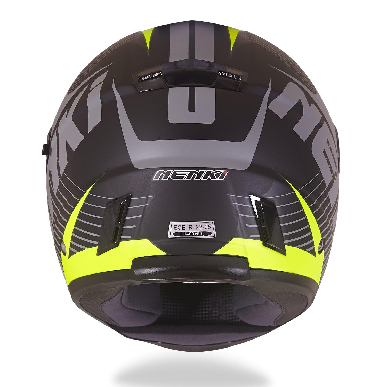 NENKI Casco integrale Moto Motocicletta NK856 con Calotta Esterna in Fibre Composite omologato ECE con doppia visiera,Nero Opaco Giallo Fluo,S 55-56CM