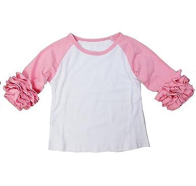 2deeaffe Kirei Sui Girls White Light Pink Icing Ruffle Long Sleeve Shirt 6M