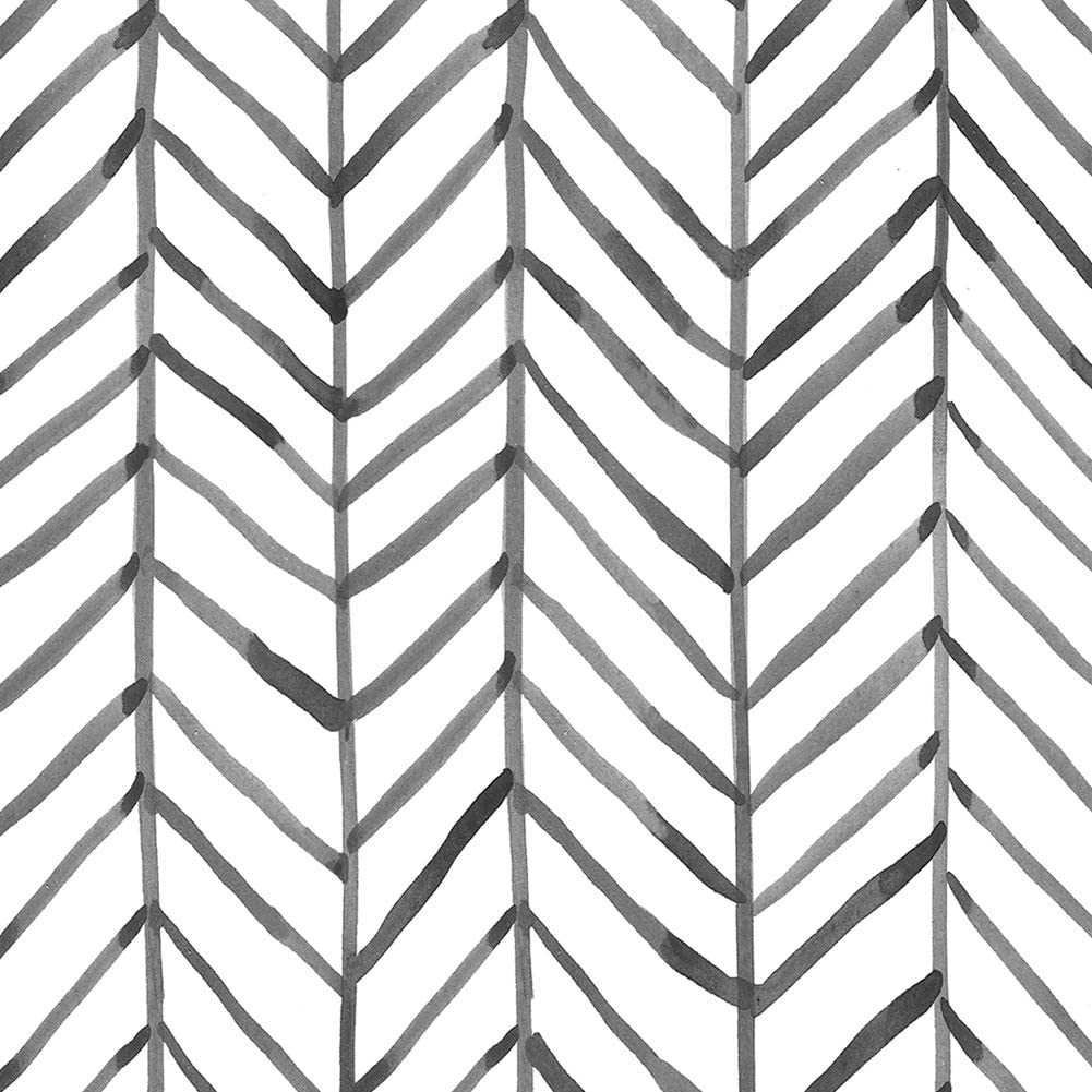 "HaokHome 96020-1 Modern Stripe Peel and Stick Wallpaper Herringbone Black White Vinyl Self Adhesive Contact Paper Decorative 17.7""x 9.8ft"