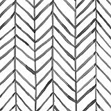 "HaokHome 96020-1 Modern Stripe Peel and Stick Wallpaper Herringbone Black White Vinyl Self Adhesive Decorative 17.7""x 9…"