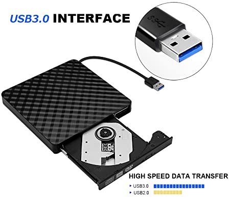 DAHSHA Ultra-Portable Optical USB 3.0 External CD DVD-RW Drive for Laptop and Desktop (Black)