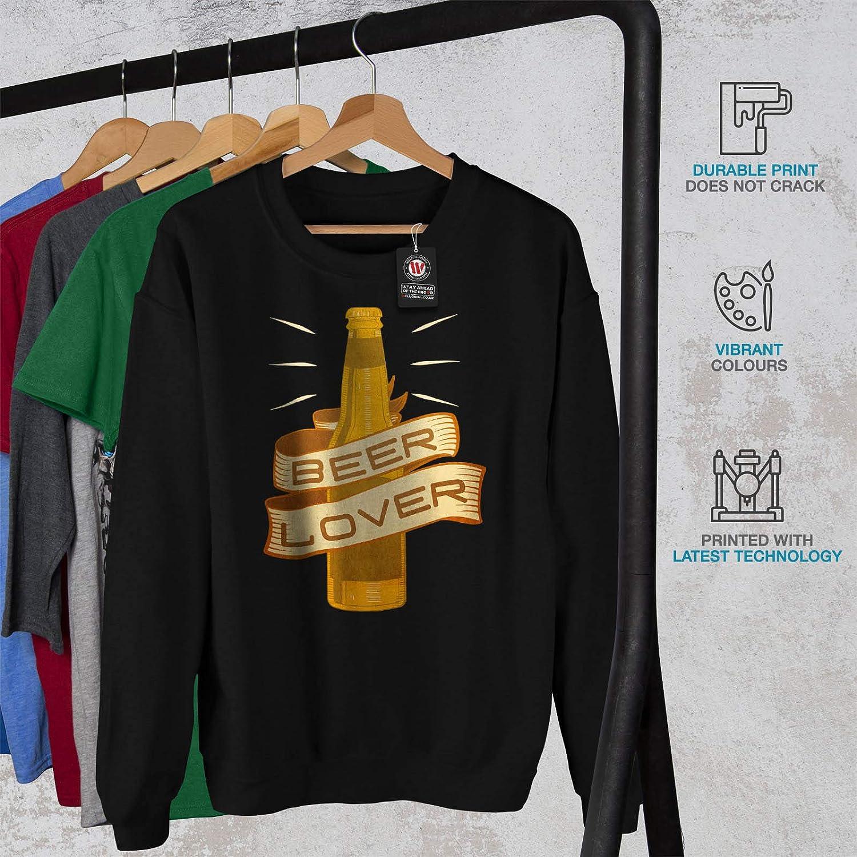wellcoda Beer Lover Mens Sweatshirt Shiny Gold Bottle Casual Jumper