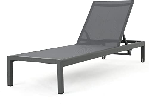 Christopher Knight Home Cape Coral Outdoor Aluminum Chaise Lounge with Mesh Seat, Grey Dark Grey