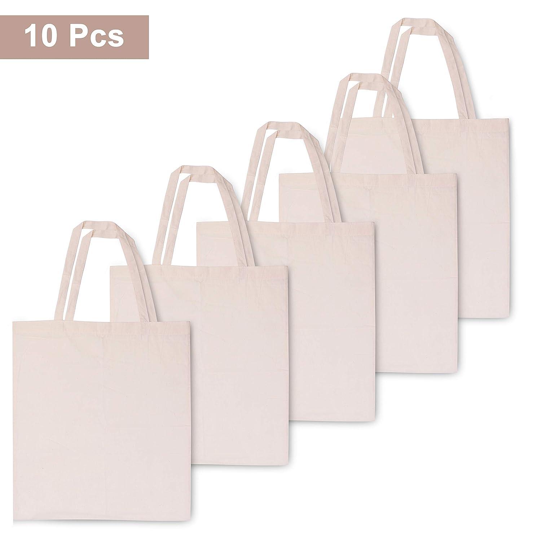 BELLE VOUS Bolsas de Algodón (Pack de 10) - Bolsas Ecológicas para la Compra - 41cm de Alto x 38cm de Ancho - Reutilizable Natural - Bolsas Lisas para Hacer ...