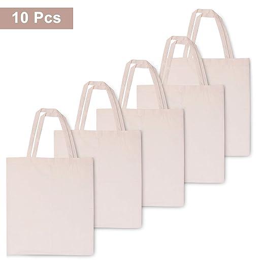 BELLE VOUS Bolsas de Algodón (Pack de 10) - Bolsas Ecológicas para la Compra - 41cm de Alto x 38cm de Ancho - Reutilizable Natural - Bolsas Lisas para ...