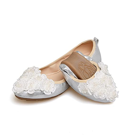 Amazon.com | Yang Sha Women Crystal Ballet Flats Folding Shoes Casual Rhinestone Flats Dancing Egg Rolls Boat Shoes | Flats