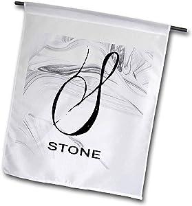 3dRose BrooklynMeme Monograms - White Marble Monogram S - Stone - 12 x 18 inch Garden Flag (fl_310100_1)