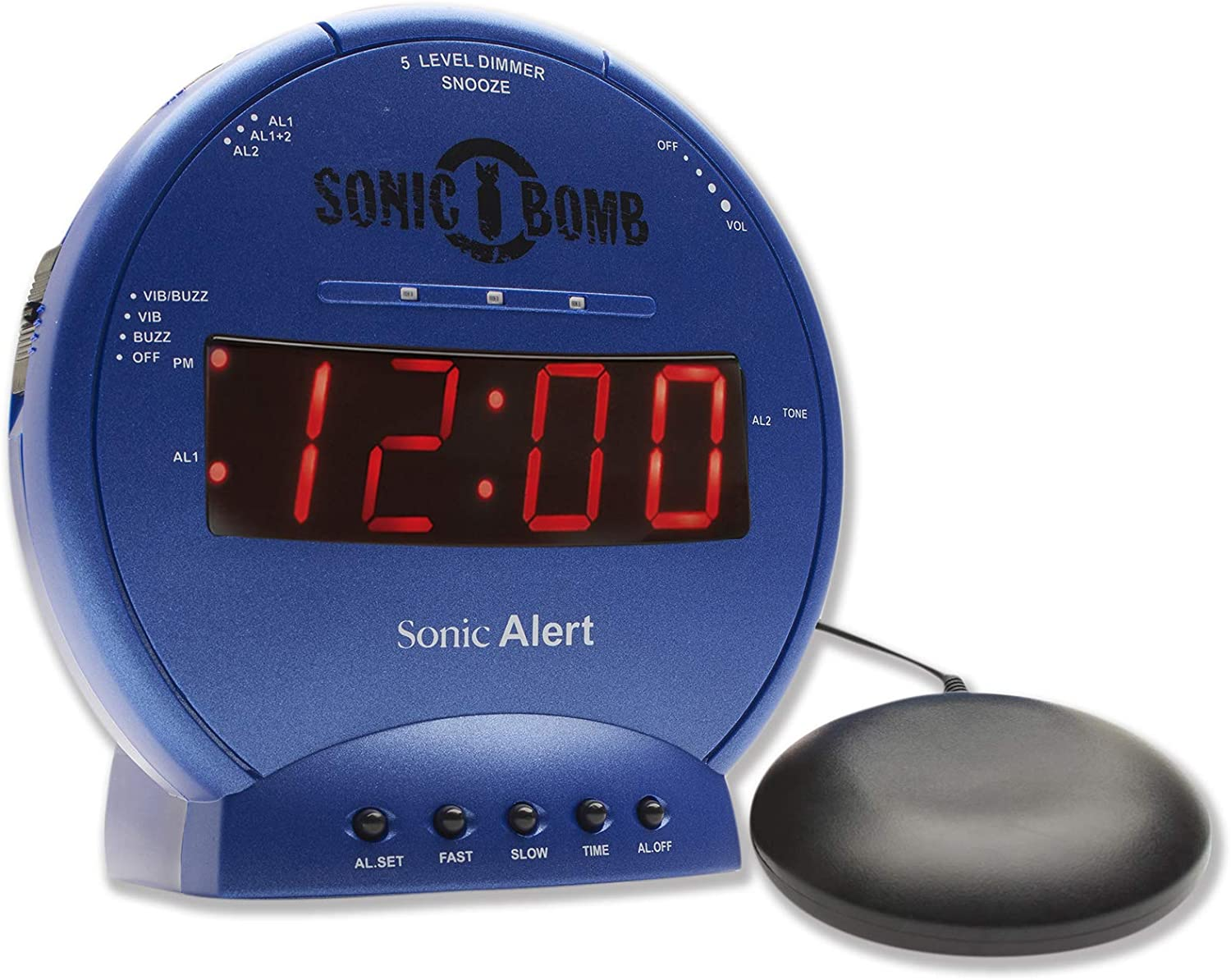 Sonic Bomb Dual Alarm Clock with Bed Shaker, Blue | Sonic Alert Vibrating Alarm Clock Heavy Sleepers, Battery Backup | Wake with a Shake