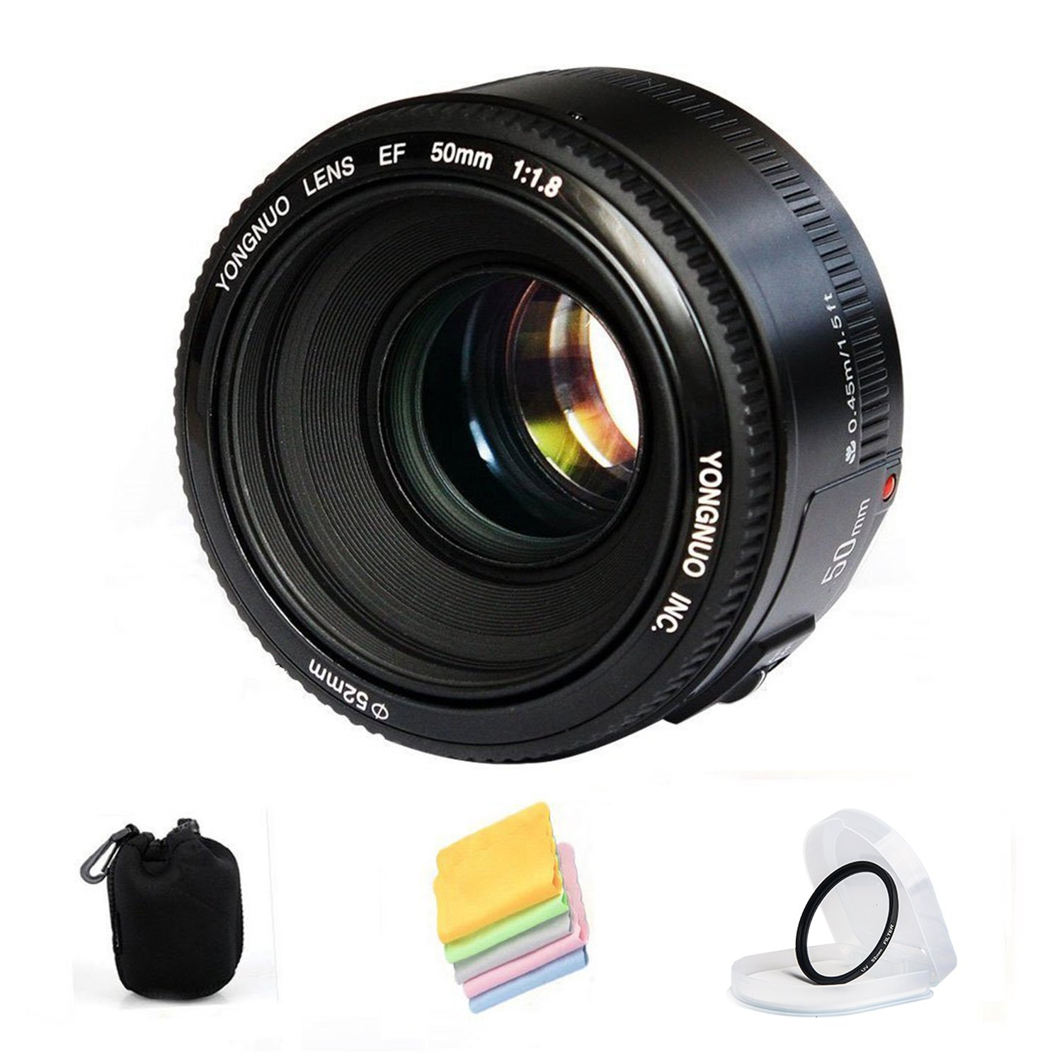 YONGNUO YN50mm F1.8 Standard Prime Lens Large Aperture Auto Focus Lens For Canon EF Mount Rebel DSLR Camera , with lens Pouch , UV filter , cleaning cloth