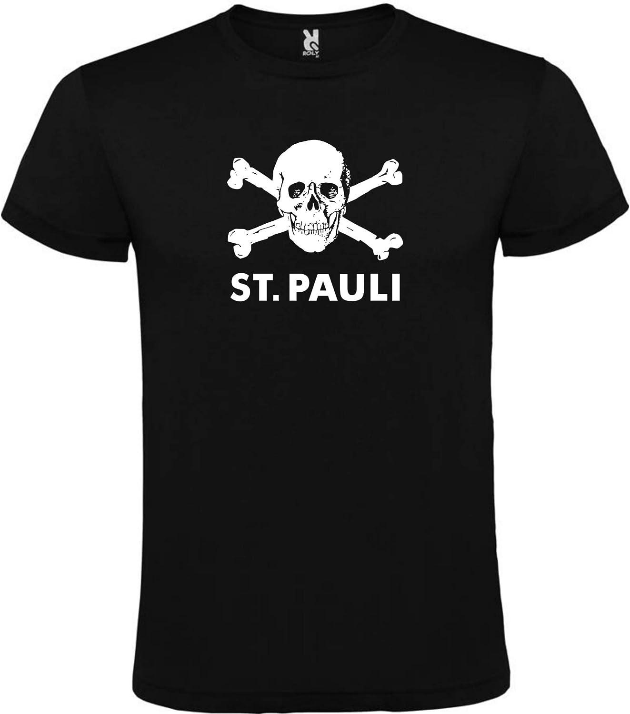 Camiseta Negra ST. Pauli Hombre Talla S M L XL XXL 100% ALGODÓN ...