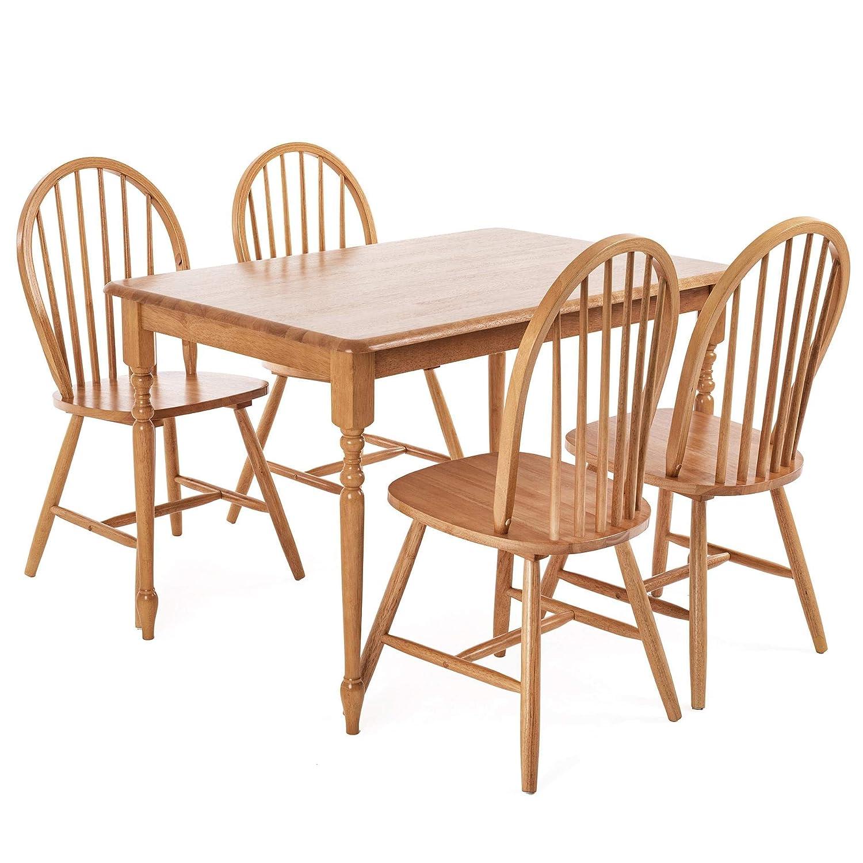 Winsor Esszimmergruppe 5 teilig aus Holz, Holztisch mit 4 Stühlen, Essgruppe, Esstisch, Esszimmerstühle
