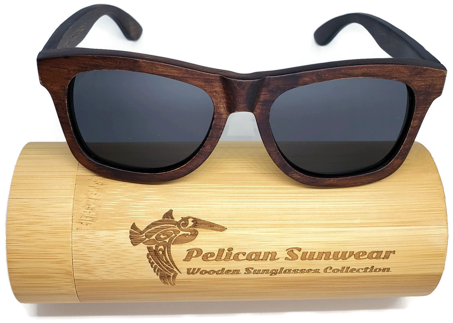 Wooden Polarized Sunglasses - Handmade Solid Real Dumu Wood Wayfarer Style w/Bamboo Case - 100% UV Protection - for Men and Women by Pelican Sunwear (brown, grey)