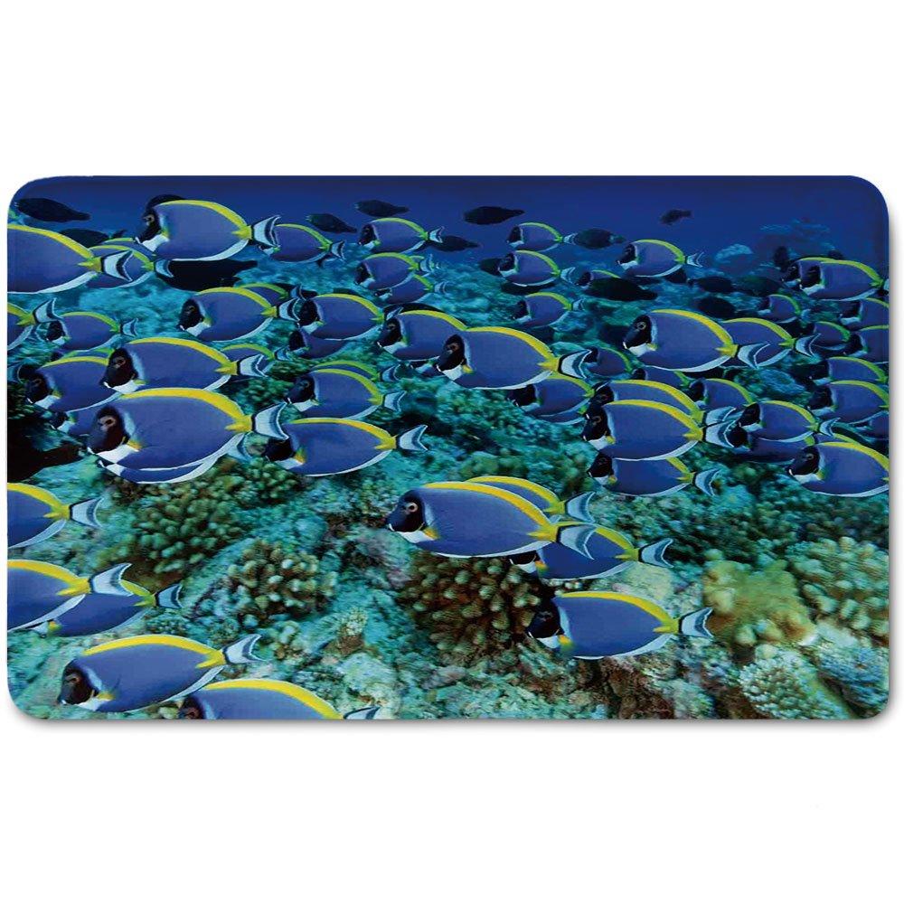 Memory Foam Bath Mat,Ocean,School of Powder Blue Tang Fishes in the Coral Reef Maldives Deep SeasPlush Wanderlust Bathroom Decor Mat Rug Carpet with Anti-Slip Backing,Aqua Blue and Yellow