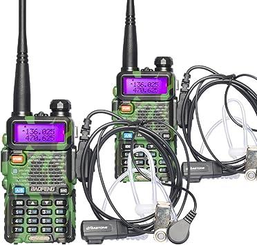 Baofeng UV-5R doble banda dos manera Radio (camuflaje) 2 Pack + 2 pcs ZASTONE auricular: Amazon.es: Electrónica
