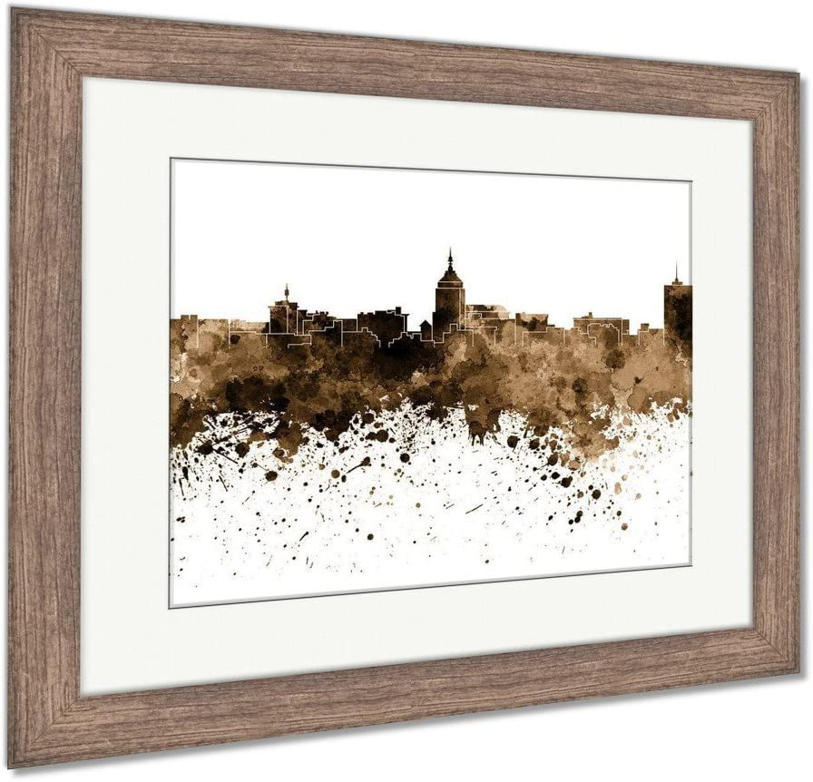 Amazon Com Ashley Framed Prints Reproduction Of Fresno Skyline In Artistic Abstract Black Watercolor Wall Art Sepia 26x30 Frame Size Rustic Barn Wood Frame Ag6251227 Posters Prints