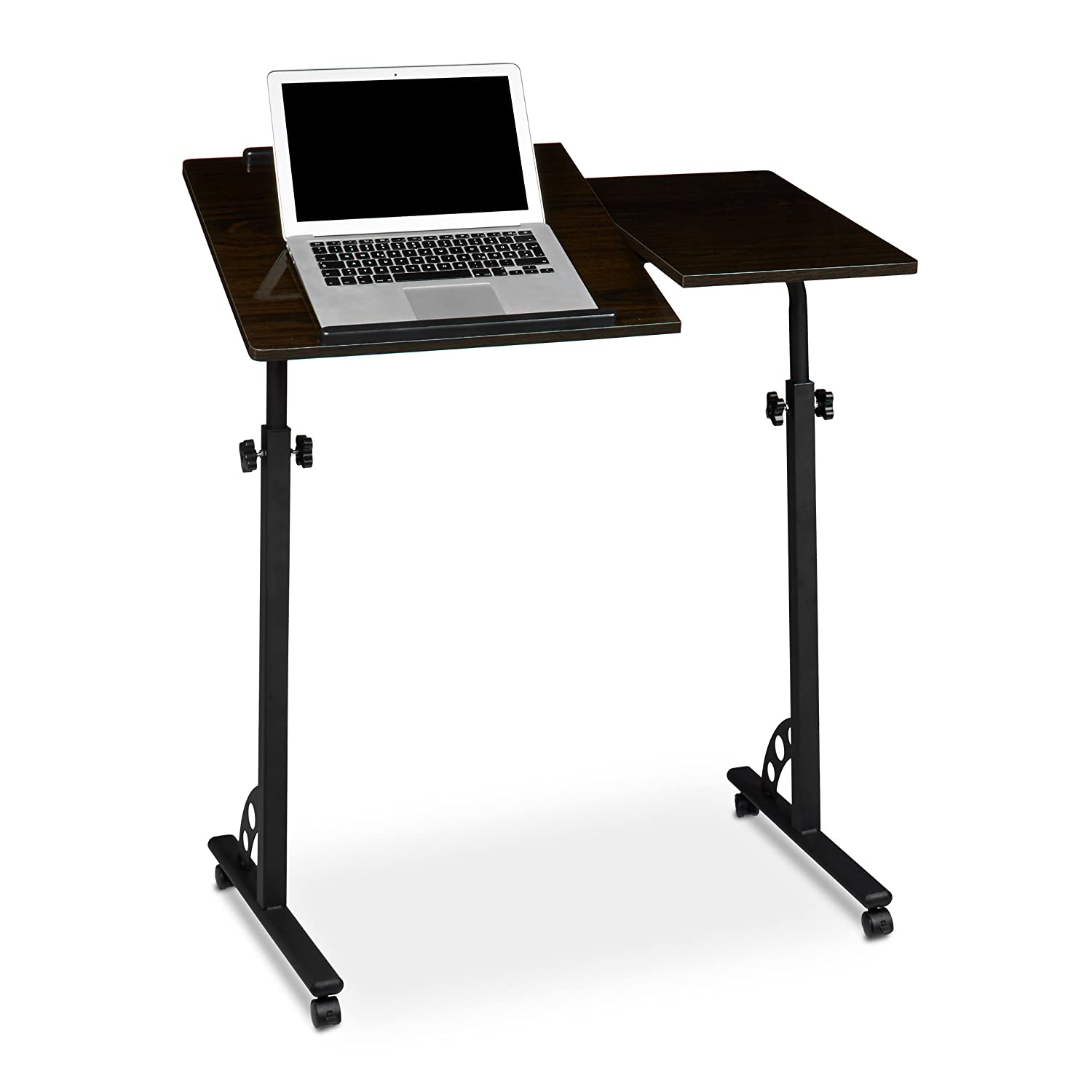 Relaxdays Laptop Table, Large, Height Adjustable, 110 x 80 x 50 cm, Mobile Podium w/ Wheels, Lecturn, Black 10020541_46