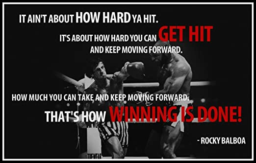 Rocky Balboa Motivational Quotes Poster Print 12 X 18 Inch Rolled