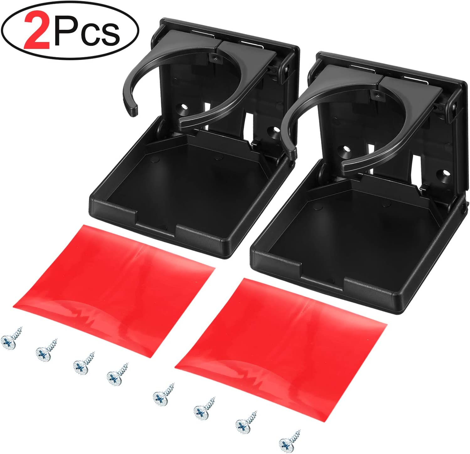 Large Drinks and Almost Any Size Bottle 2 Pack Universal Adjustable Folding Drink Holder with Screws for Holding Mugs Adjustable Cup Holder for Boat//Car//Trucks//RVs//Vans//Home//Leisure Centre