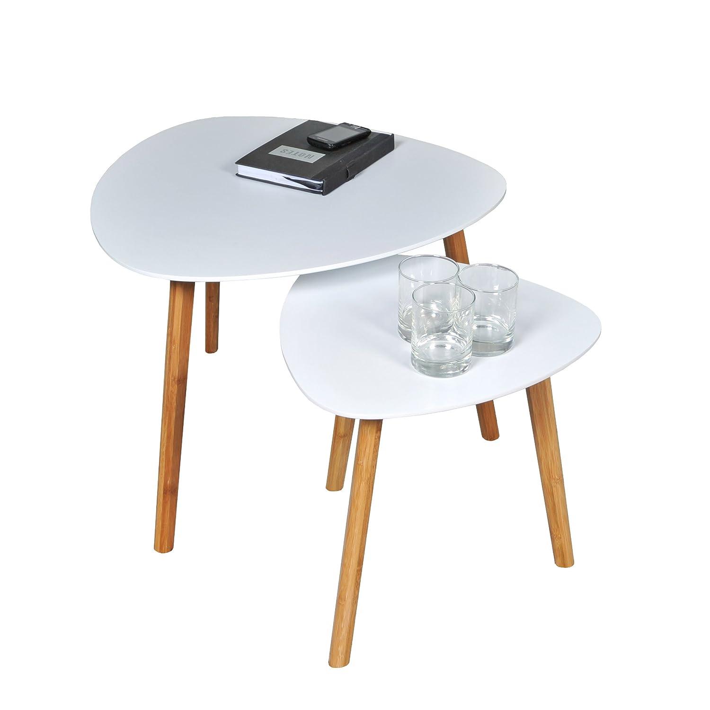 Weber INDUSTRIES 02469 Onyx 2er set Satztische, Holz, weiß, 60 x 60 x 45 cm