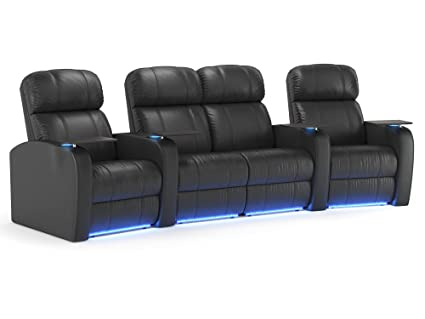 Amazon.com: Diesel XS950 Home Theater Recliners - Black Leather ...
