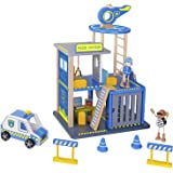 Pidoko Kids Police Station Playset - Everyday Heroes Wooden Toys Play Set, with Accessories Car, Helicopter and More - Toy Dollhouse For Boys & Girls Toddlers 3 year old and up
