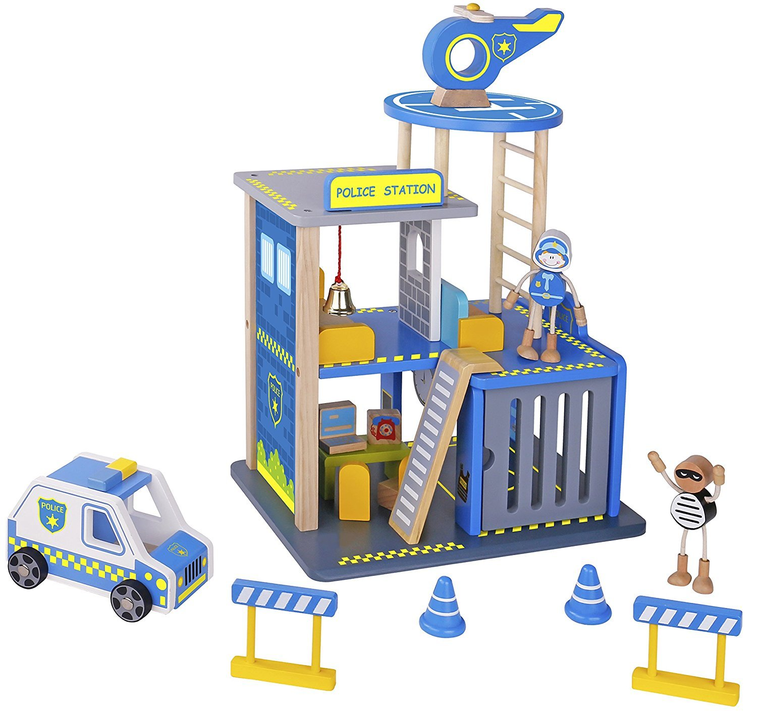 pidoko kids police station playset everyday heroes wooden toys play set with accessories car. Black Bedroom Furniture Sets. Home Design Ideas