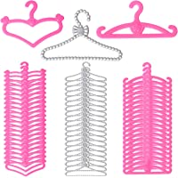 60 PCS Doll Hangers Accessories for 11.5 Inch Girl Doll - 3 Style Pink Silver Plastic Hangers Heart Flower Rosette Doll…