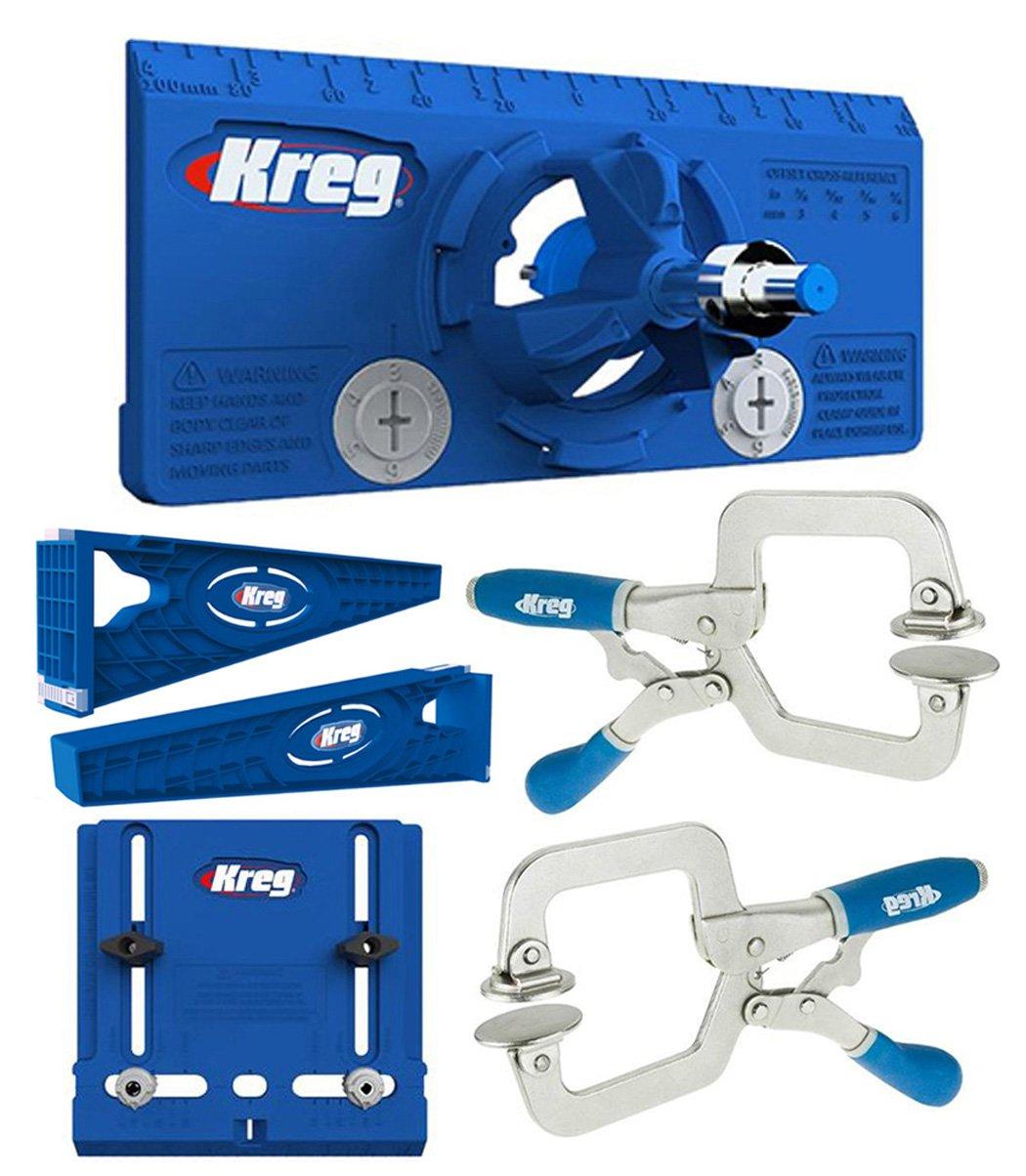 Kreg Drawer Slide Mounting Tool, Cabinet Hardware Jig, Hinge Jig, & 2 Face Clamps by Kreg