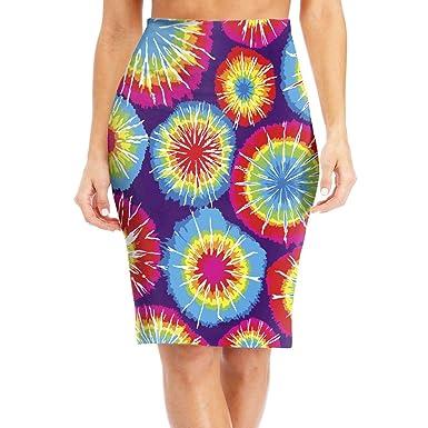 fccf81834 Women High Waist Bodycon Midi Pencil Skirt Color Tie Dye Office Slim Skirt  at Amazon Women's Clothing store: