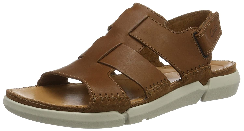 Clarks Trisand Bay, Sandalias de Talón Abierto para Hombre 46 EU Marrón (Tan Leather)