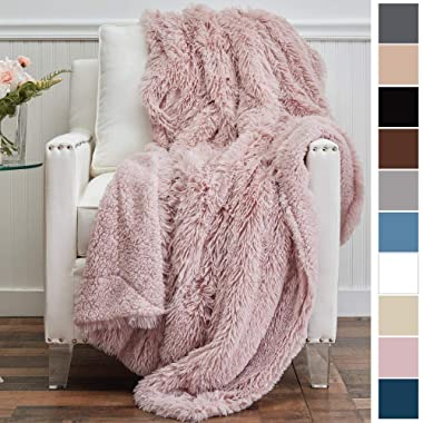 The Connecticut Home Company Shag with Sherpa Reversible Throw Blanket, Super Soft, Large Plush Wrinkle Resistant Blankets, Warm Hypoallergenic Machine Washable Couch/Bed Throws, 65x50 (Dusty Rose)