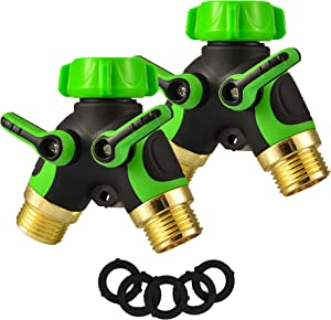 2 Way Hose Splitter Y Connector with Comfortable Rubber Grip and 360 °Rotatable Top Quick Connect Garden Hose Tee Equipment Valve Shut Off (Green 2)