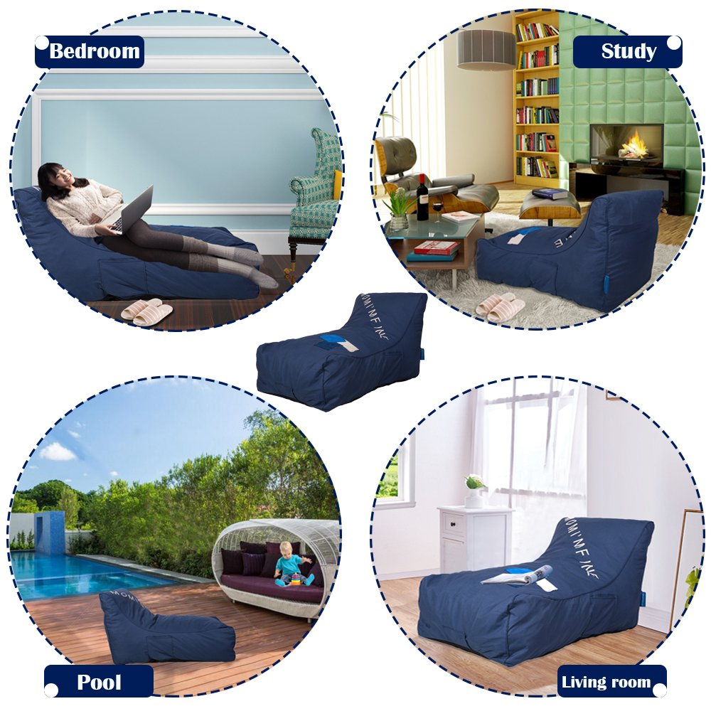 KARMAS PRODUCT Chaise Lounge Chair Self Expanding Sponge Bean Bag Home Furniture Lazy Relax Comfort Bed Sofa for Adults Kids, Darkblue