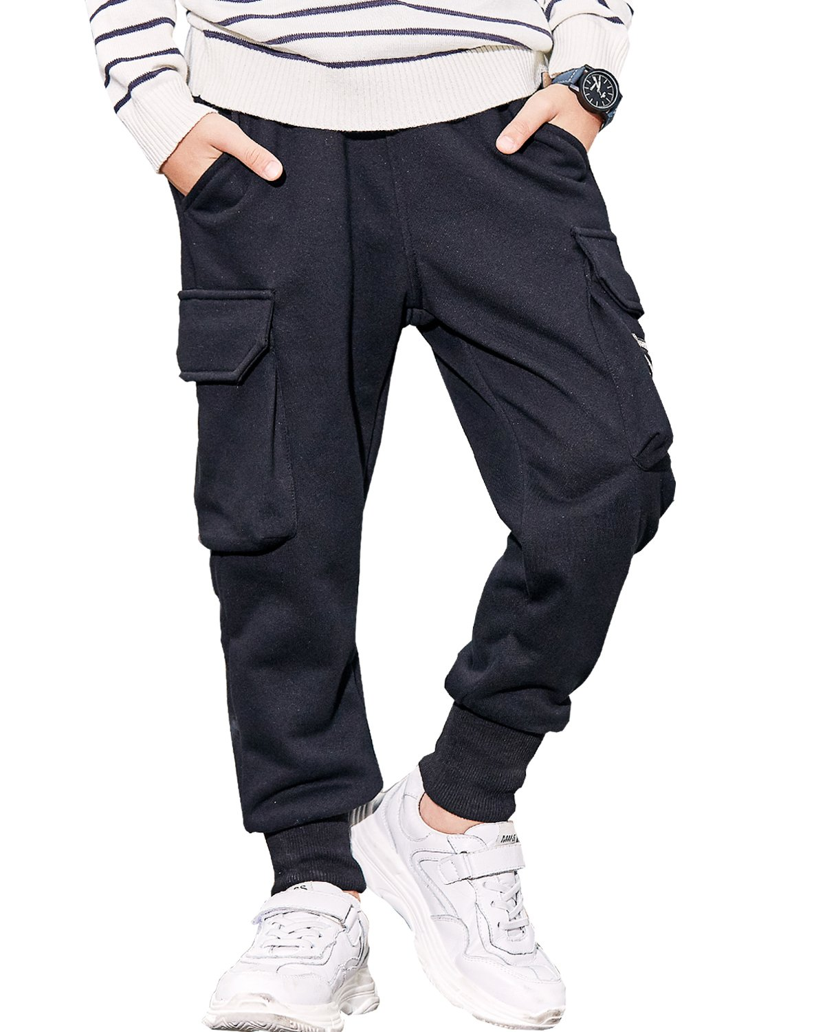 BYCR Boys' Elastic Adjustable Waist Two Pockets Cotton Jogger Pants for Kids