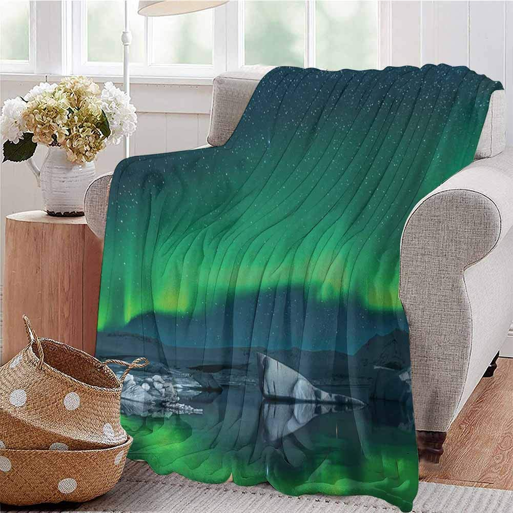 KFUTMD Soft Lightweight Blanket Aurora Borealis Under The Starry Sky Hills of Arctic Northern Landscape Night Blue Lime Green Dorm Bed Baby Cot Traveling Picnic W71 xL90
