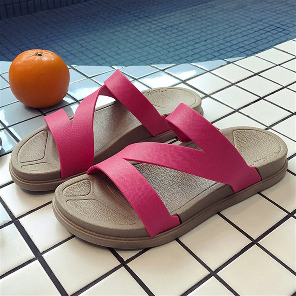 2018 New Ladies Summer Beach Bath Slippers Casual Wedge Sandals Women Shoes B07BNN4HCY 5.5 B(M) US|Hot Pink