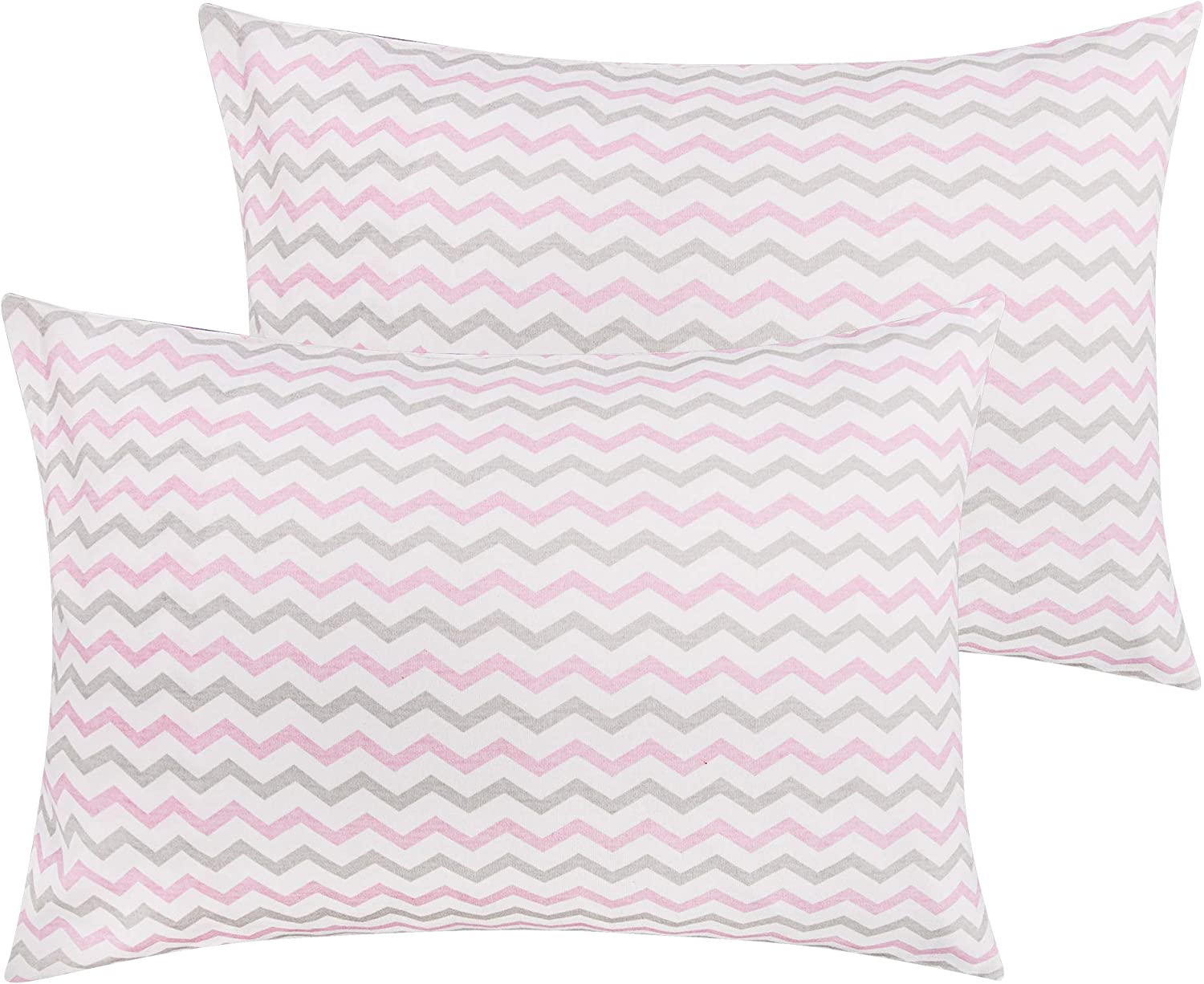 "NTBAY Natural Cotton Jersey Knit Toddler Pillowcases, 2 Pcs Soft and Breathable Travel Pillowcase Cover with Envelope Closure, for Boys and Girls, 13""x 18"", Pink Wave"