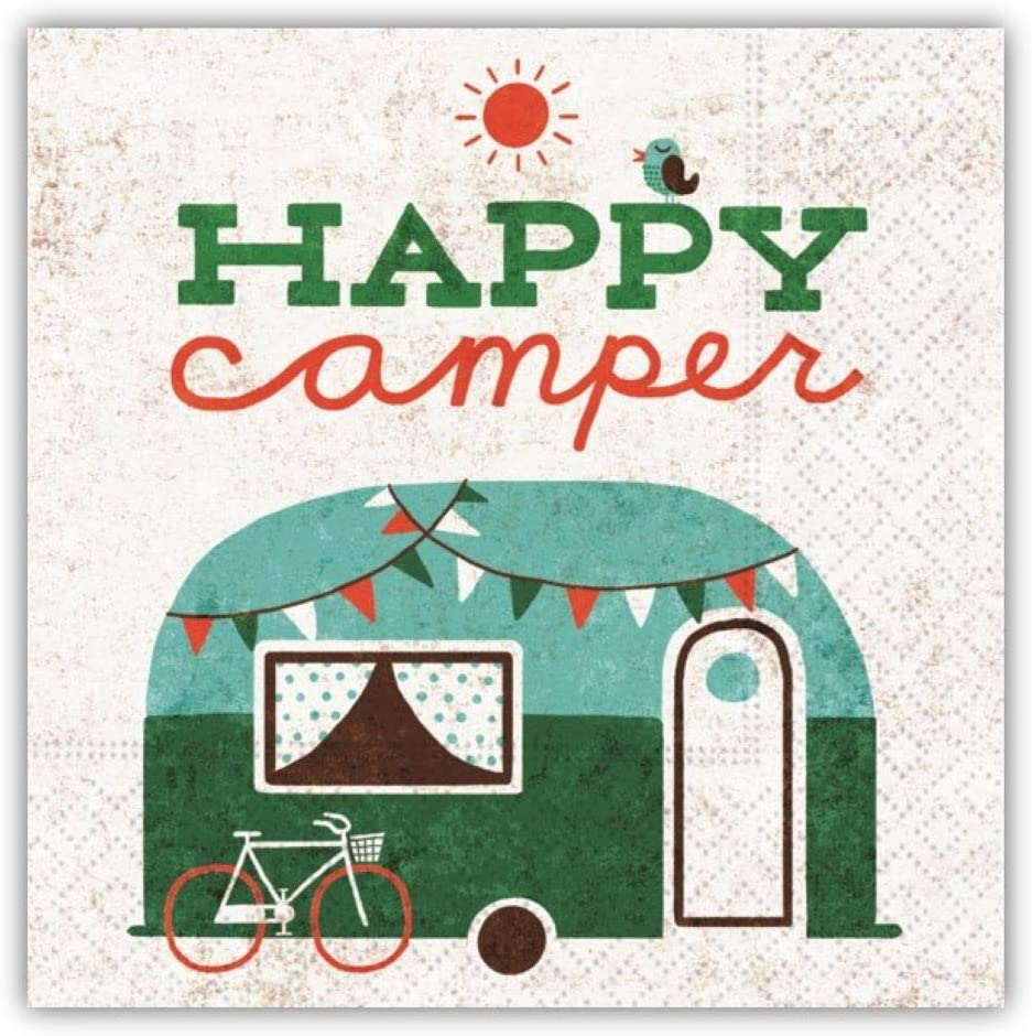 Vintage Happy Camper Cocktail Napkins, Funny Beverage Napkins, 5-inch Square