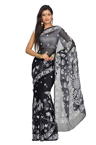 c91439db844b84 Image Unavailable. Image not available for. Colour: Ada Hand Embroidered  Lucknow Chikan Faux Georgette Saree with Blouse (A250038 Black)