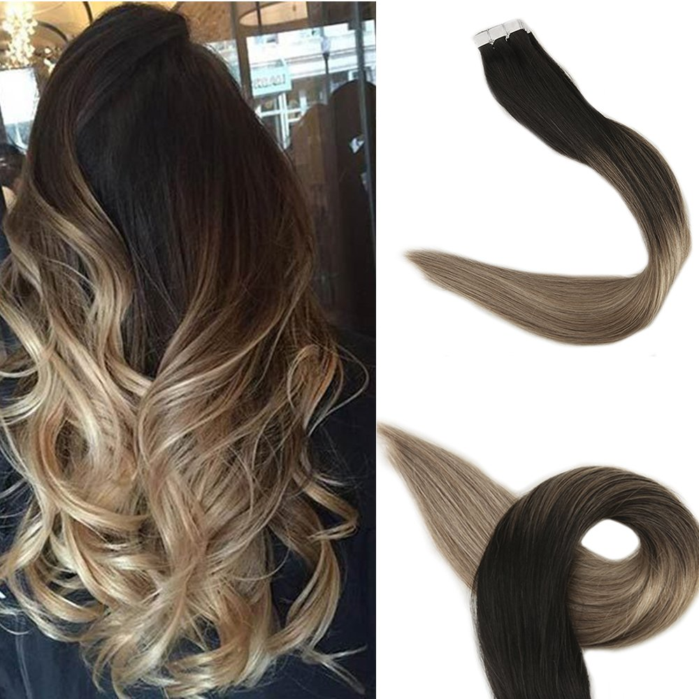 Amazon Full Shine 16 Inch Tape In Balayage Hair Extensions